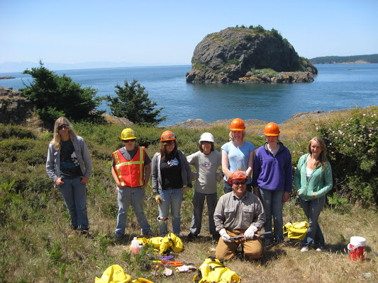 Lopez Island Conservation Corps youth group with Nick Teague at Point Colville